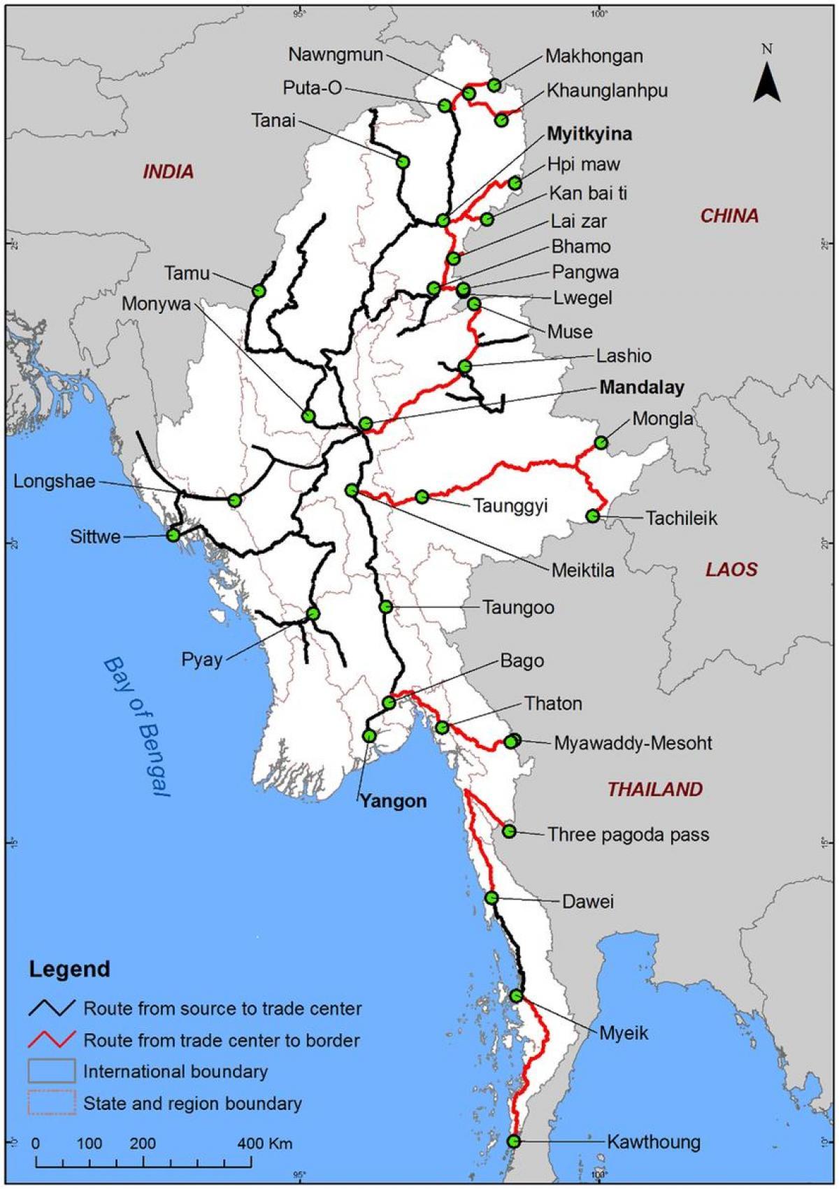 ミャンマー道路地図ミャンマー道路地図の詳細 東南アジア アジア